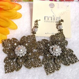 New Boho Earrings Rhinestone Pearl Flower Dangles